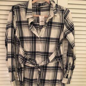 J Crew Factory plaid flannel shirt dress.